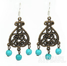 Fashion Vintage Style 6Mm Burst Pattern Blue Turquoise Dangle Earrings With Bronze Charm