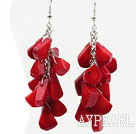 Wholesale Cluster Style Drop Shape Red Coral Earrings