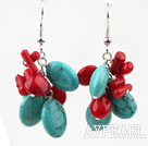 Wholesale Cluster Style Assorted Red Coral and Oval Shape Turquoise Earrings