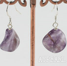 Lovely 16Mm Waved Natural Amethyst Dangle Earrings With Fish Hook