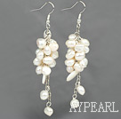 Wholesale cluster style white pearl and shell earrings