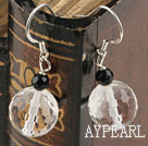 Lovely Black And Shinning Clear Crystal Ball Drop Earrings With Fish Hook