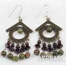 Wholesale Vintage Style Garnet and Green Aventurine Earrings