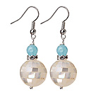 16mm Mosaics White Lip Shell Ball And Blue Jade Dangle Earrings
