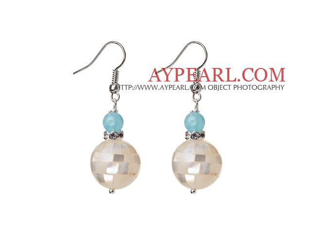 16mm Mosaics White Lip Shell Ball And Blue Jade Dangle Earrings