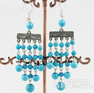 Favorite Long Style Round Blue Turquoise Loop Chain Dangle Earrings With Fish Hook