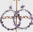 Large-diameter circle natural amethyst earrings