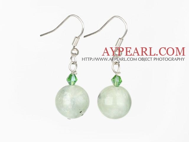 crystal and green rutilated quartz earrings