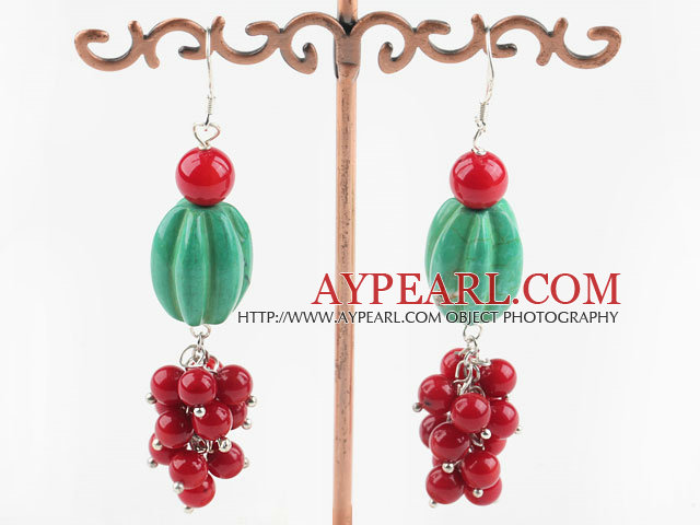 Lovely Pumpkin Shape Blue Turquoise And Round Red Coral Cluster Earrings With Fish Hook