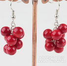 Fashion Cluster Style 6Mm Round Red Coral Loop Chain Dangle Earrings With Fish Hook