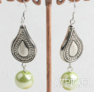 Fashion 12Mm Apple Green Round Acrylic Beads And Nut Shape Charm Dangle Earrings