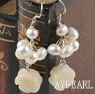 Wholesale pearl and yellow jade earrings