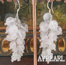 Elegant Round Rose Quartz Cluster Style Dangle Earrings With Fish Hook