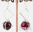 Wholesale 14mm purple agate earrings