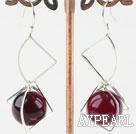 Wholesale 14mm purple agate earrings