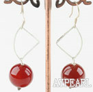Wholesale faceted 14mm round red agate earrings