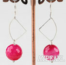 Faceted 14Mm Round Pink Agate Loop Dangle Earrings With Fish Hook