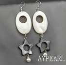 Lovely White And Black Hollow Star Shape Shell And White Pearl Dangle Earrings