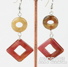 Elegant Donut And Hollow Square Three Color Jade Dangle Earrings With Fish Hook