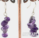 Lovely Layer Natural Amethyst Chips Stone Dangle Earrings With Fish Hook