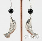 Wholesale black agate and fish finding earrings