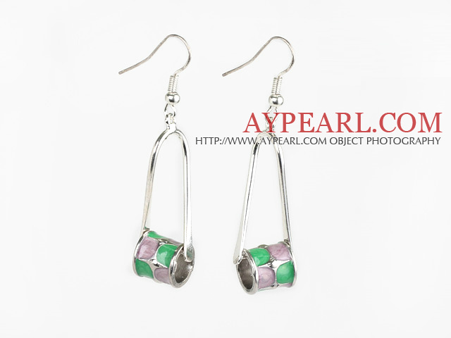 Lovely Twisted Loop Meatl Colored Glaze Drum Shape Dangle Earrings With Fish Hook