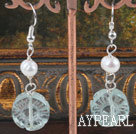 Wholesale switzerland blue carved blue crystal white pearl earrings