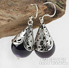 Lovely 14Mm Purple Agate Ball And Horn Charm Dangle Earrings With Fish Hook