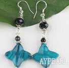 Lovely Black Crystal And Blue Flower Stone Dangle Earrings With Fish Hook