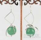 Wonderful Green Round Aventurine Fan-Shape Metal Charm Dangle Earrings
