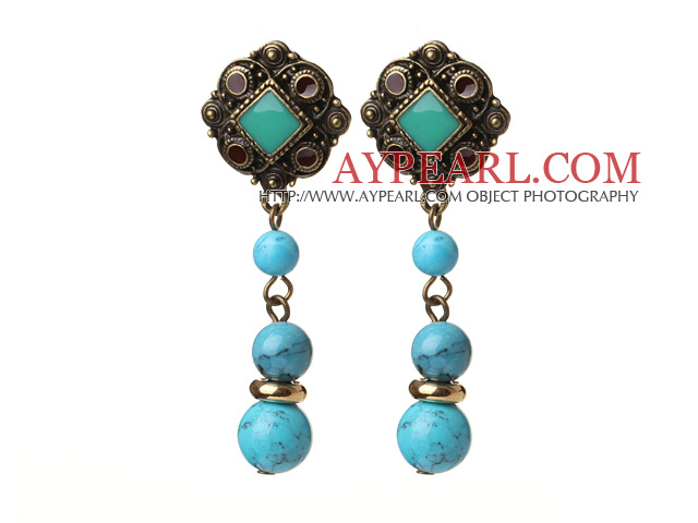 Vintage Tibetan Style Round Blue Turquoise Beads Earrings