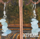 Fashion Sapphire Blue Chipped Aquamarine Dangle Earrings With Fish Hook