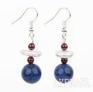 Fashion White Coin Pearl Garnet And Round Lapis Dangle Earrings With Fish Hook