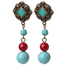 Wholesale Vintage Tibetan Style Round Blue Burst Pattern Turquoise And Red Coral Beads Earrings