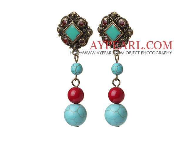 Vintage Tibetan Style Round Blue Burst Pattern Turquoise And Red Coral Beads Earrings