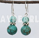round turqulise beaded earrings