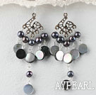 black pearl and black shell lip earrings