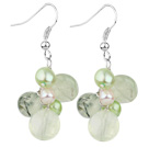 Wholesale Assorted Green Freshwater Pearl and Green Rutilated Quartz Earrings