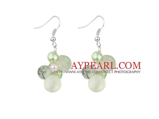 Assorted Green Freshwater Pearl and Green Rutilated Quartz Earrings
