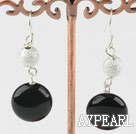Beautiful Vogue Blue Agate And Silver Color Ball Dangle Earrings With Fish Hook