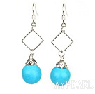 Nice 12Mm Round Blue Turquoise And Hollow Rhombus Metal Dangle Earrings