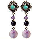 Vintage Style Rhombus Shpe Tibet Silver Black And Purple Agate Dangle Earrings