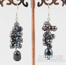 Wholesale cluster style black pearl earrings