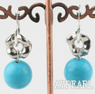 Simple Style Round 14Mm Blue Turquoise And Hollow Metal Charm Earrings With Ear Hoops