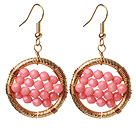 Amazing Style Faceted Pink Coral Beads Earrings With Big Golden Color Hoop