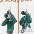 Wholesale black agate and phoenix stone earrings