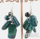 Wholesale black agate and phoenix stone earrings