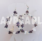 Large-diameter circle shell and amethyst earrings