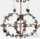 Wholesale Large-diameter circle smoky quartze earrings