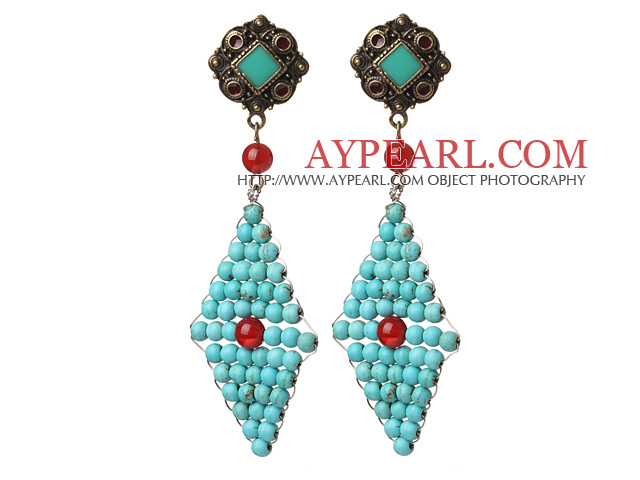 Trendy Special Rhombus Shape Blue Turquoise Beads And Red Agate Wire Wrapped Earrings With Tibetan Accessory